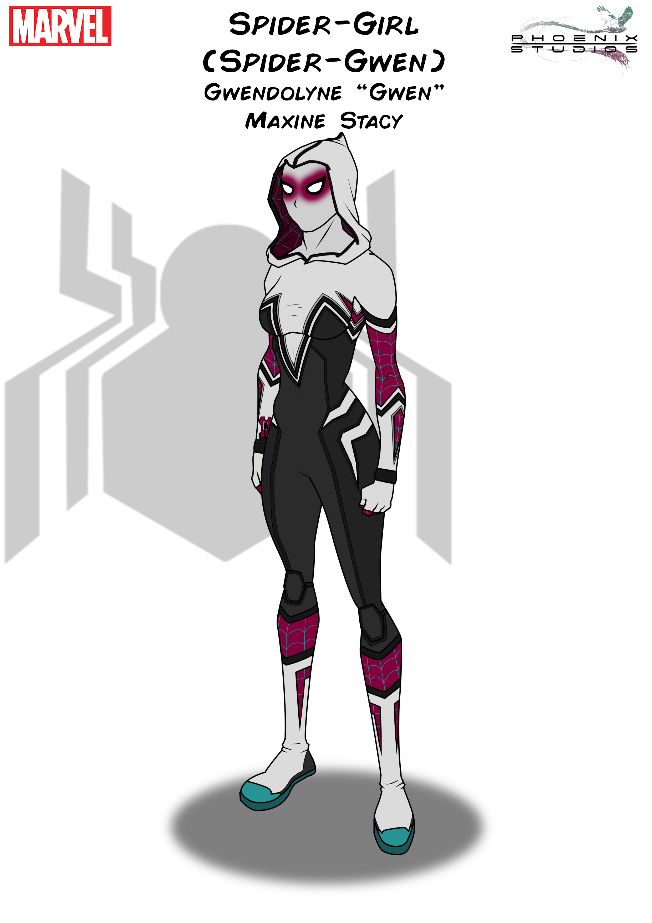 Spider girl by kyle. Spider-gwen png gwen black and white clipart library stock