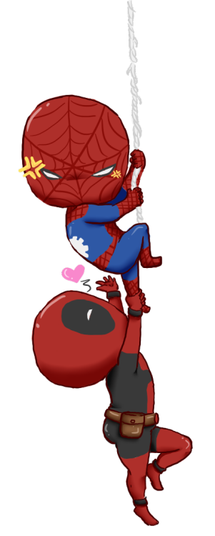 Chibi deadpool and spiderman.  graphic freeuse stock