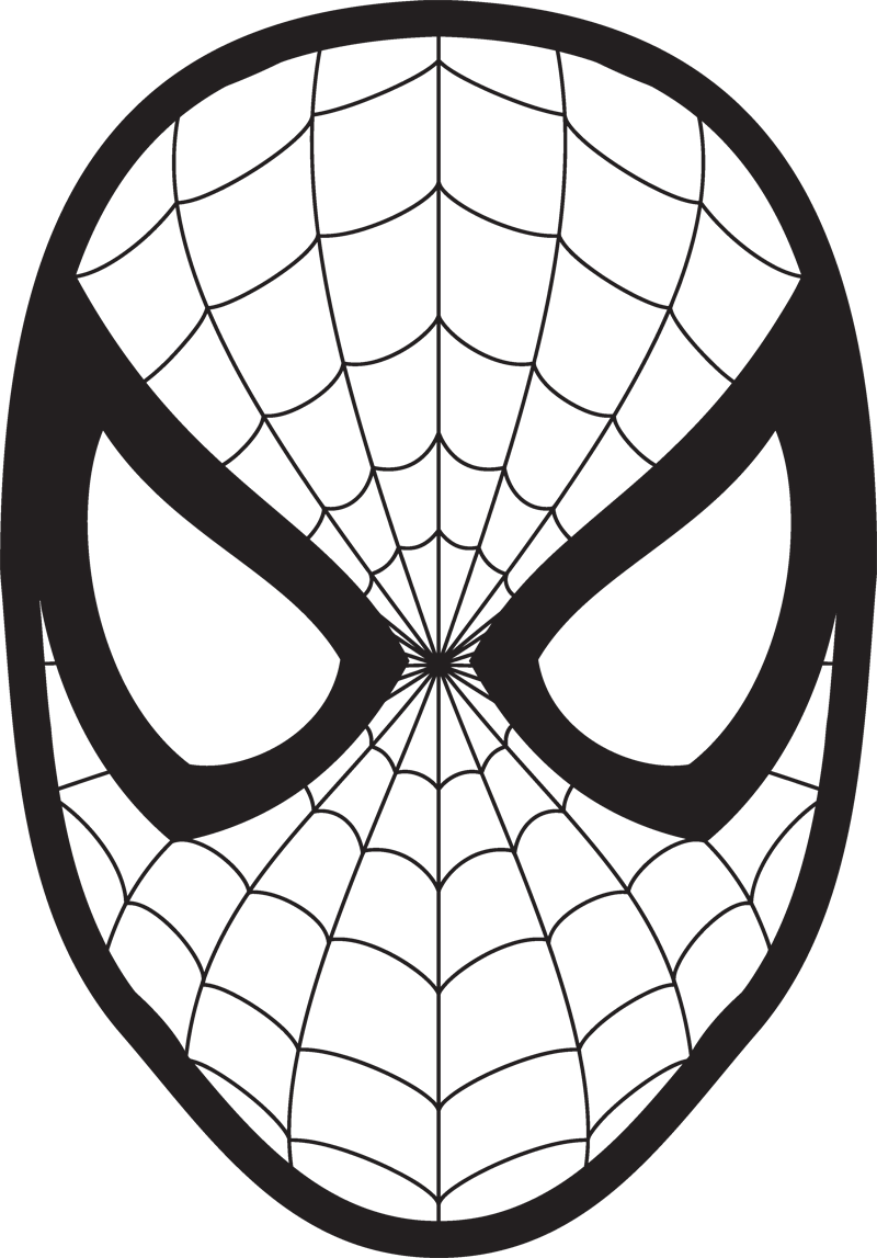 Spiderman face logo wall. Mask clipart spider man banner black and white stock