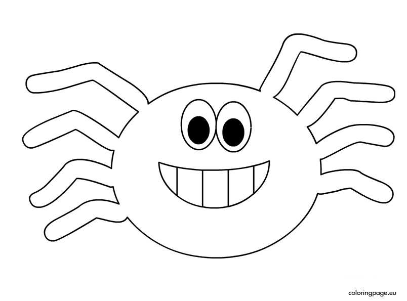 Spiders clipart coloring page. Halloween spider pages colouring