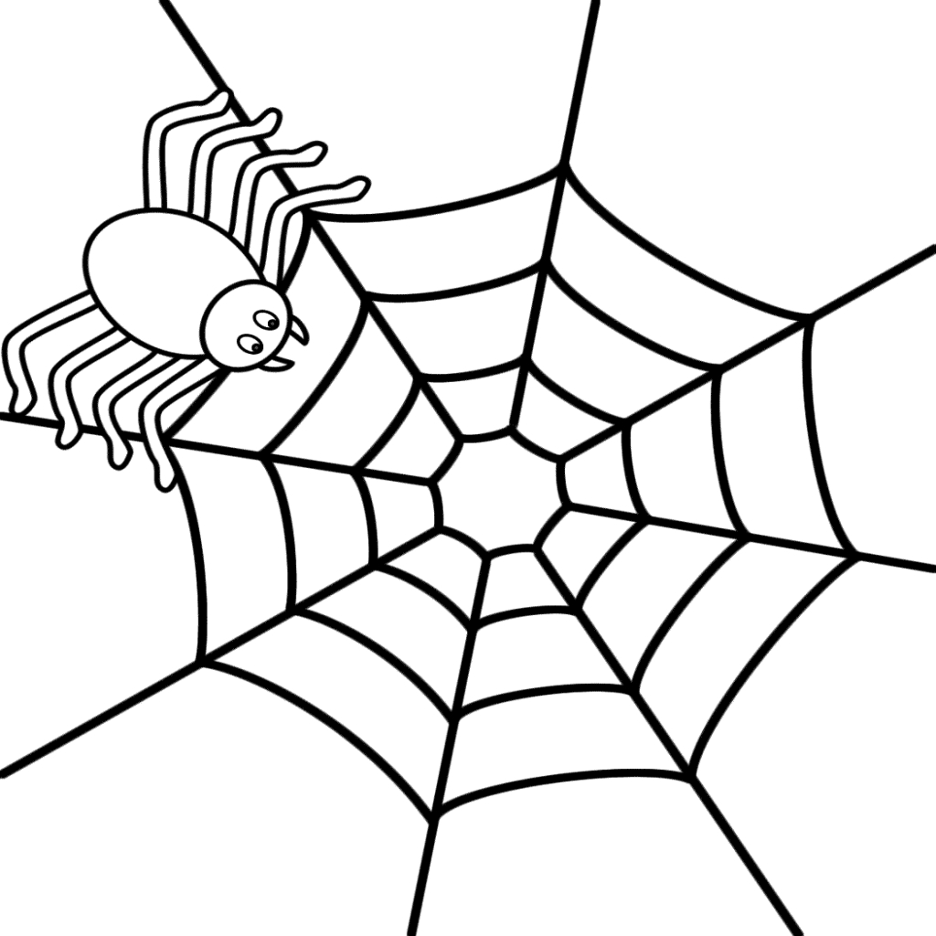 Spiders clipart coloring page. Spider web halloween pencil
