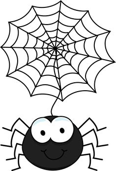 Spiders clipart coloring page. Free printable halloween pages