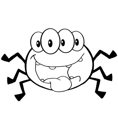 Spiders clipart coloring page. Happy cartoon spider free