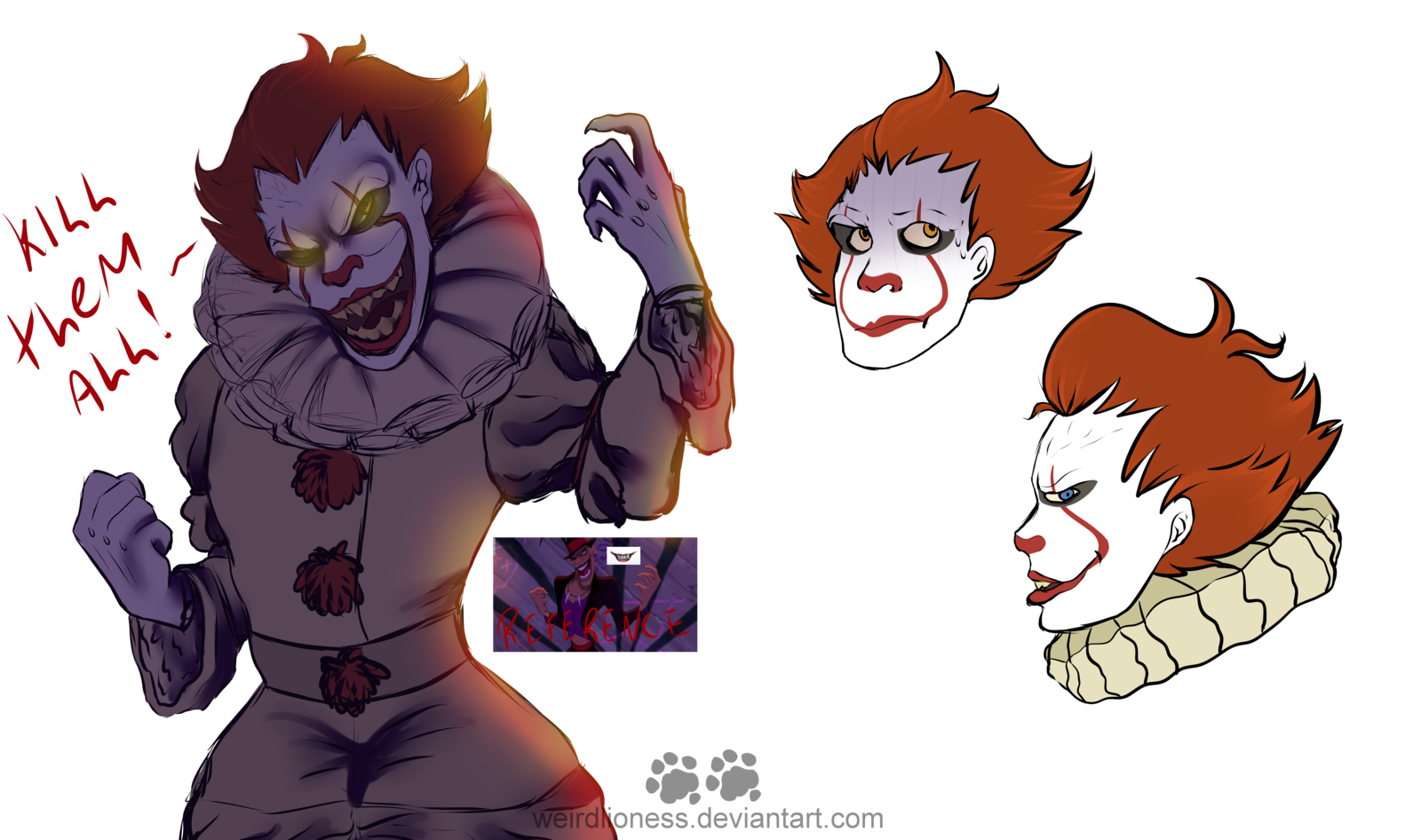 Spiders drawing pennywise. Clown daddy doodles by