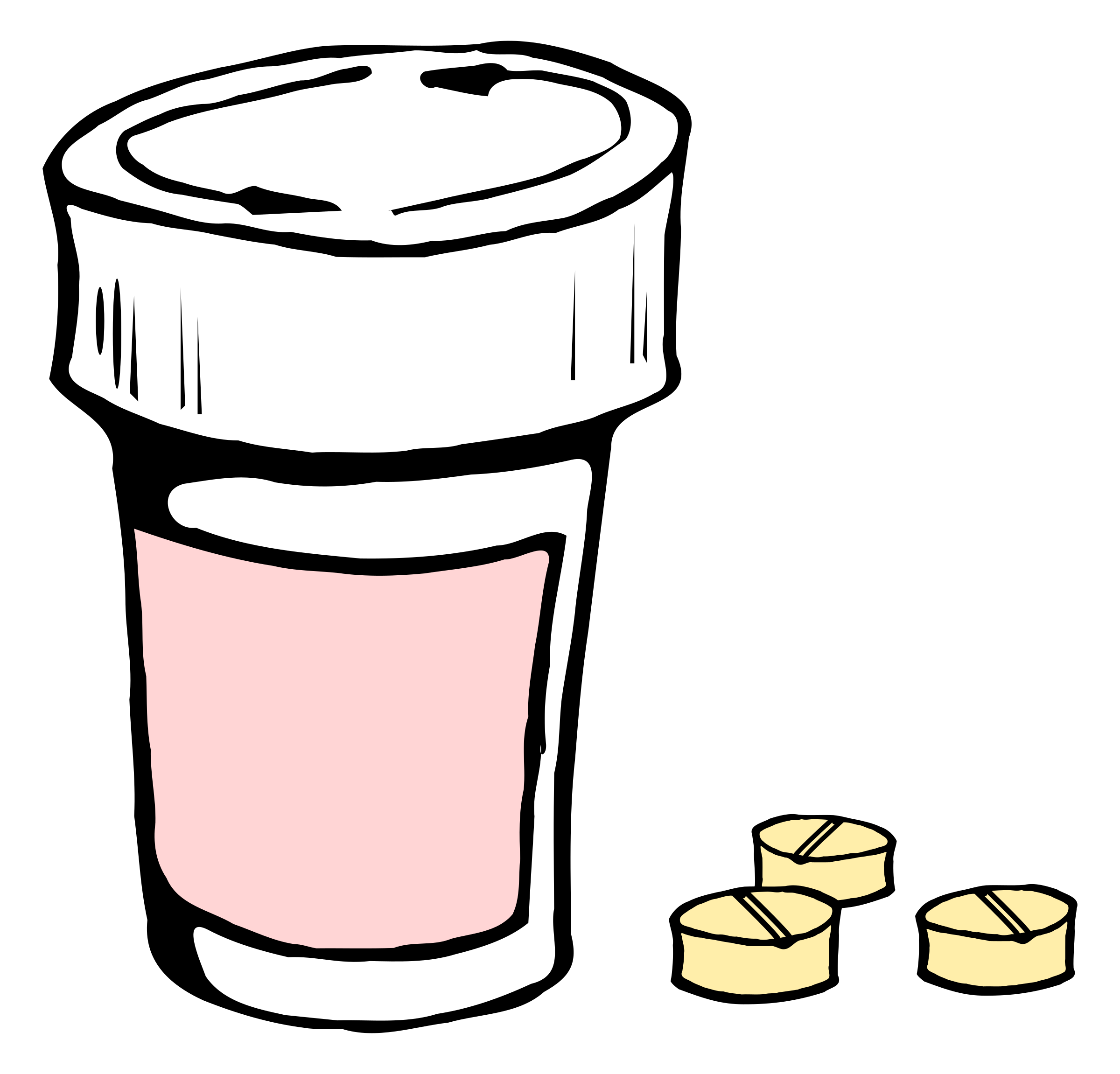 Pill transparent spilled. Pills and bottle icons