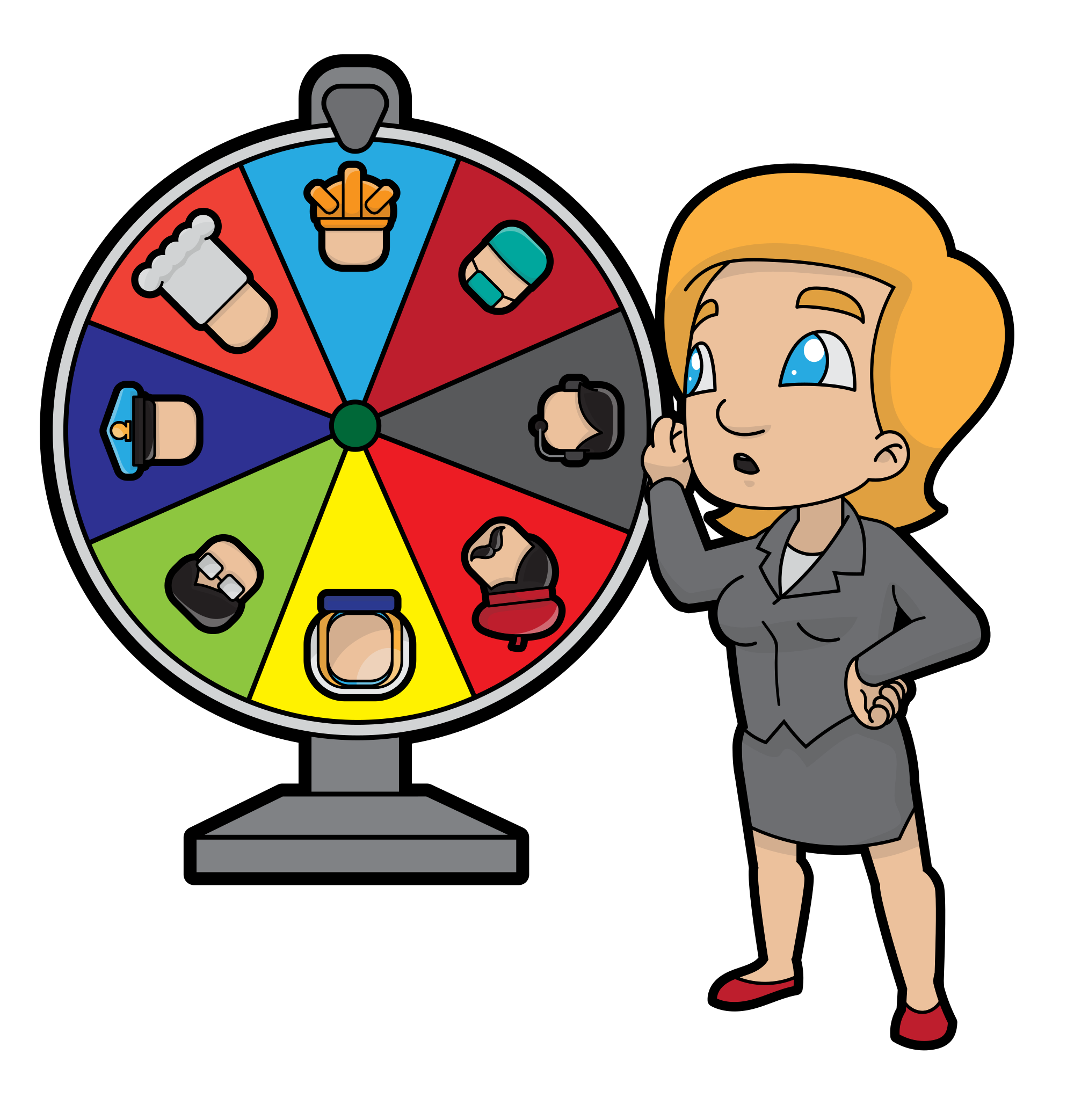 Spin clip cartoon. File woman changing career