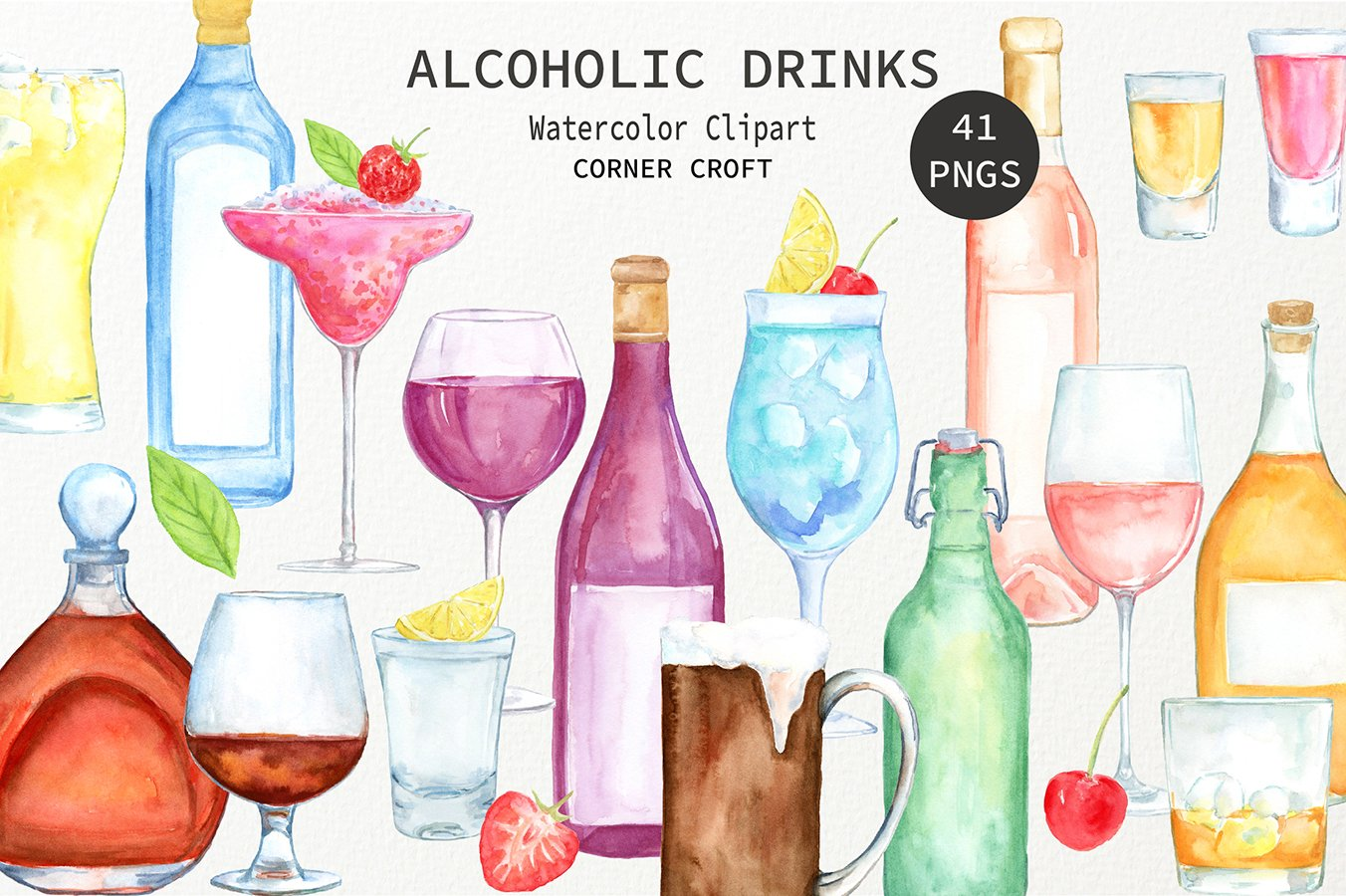 Spirit clipart wine spirit. Watercolour alcohol beer liquor
