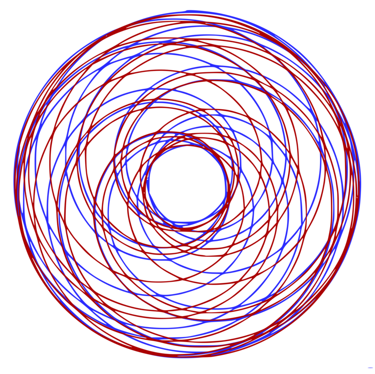 Spirograph drawing. Computer icons blue red