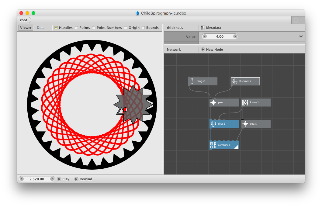 Spirograph drawing machine. Fun with a child