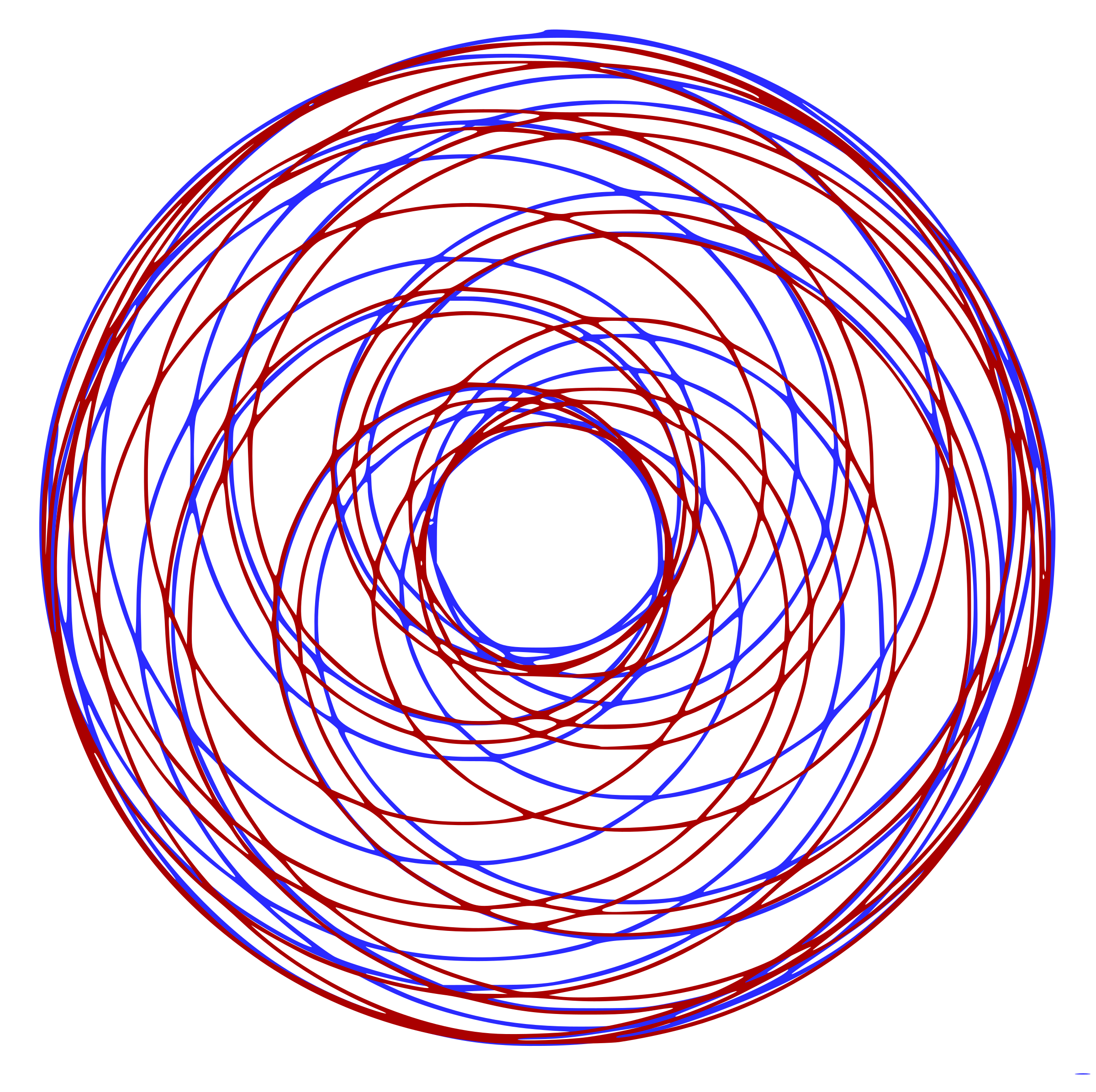 Spirograph drawing simple. Clipart red blue big