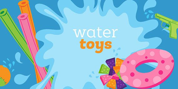 Splash clipart pool toy. Water toys cute summer