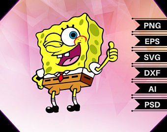 Spongebob clipart house. Svg etsy thumbs up