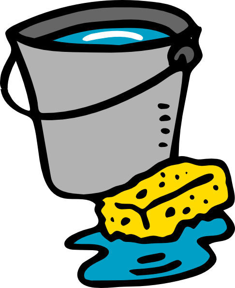 Sponges drawing bucket. The art of cleaning
