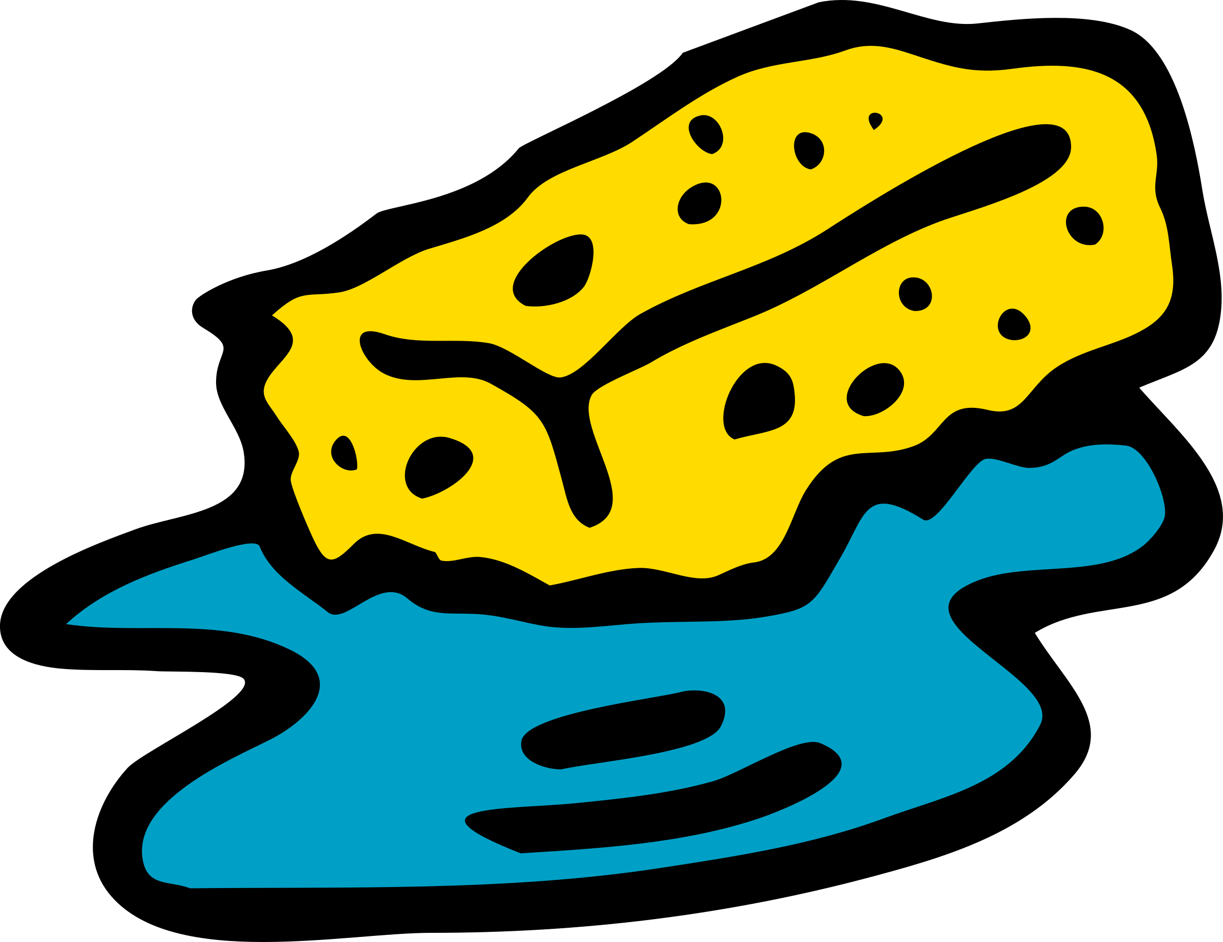 Sponges drawing under sea. Collection of free absorbition