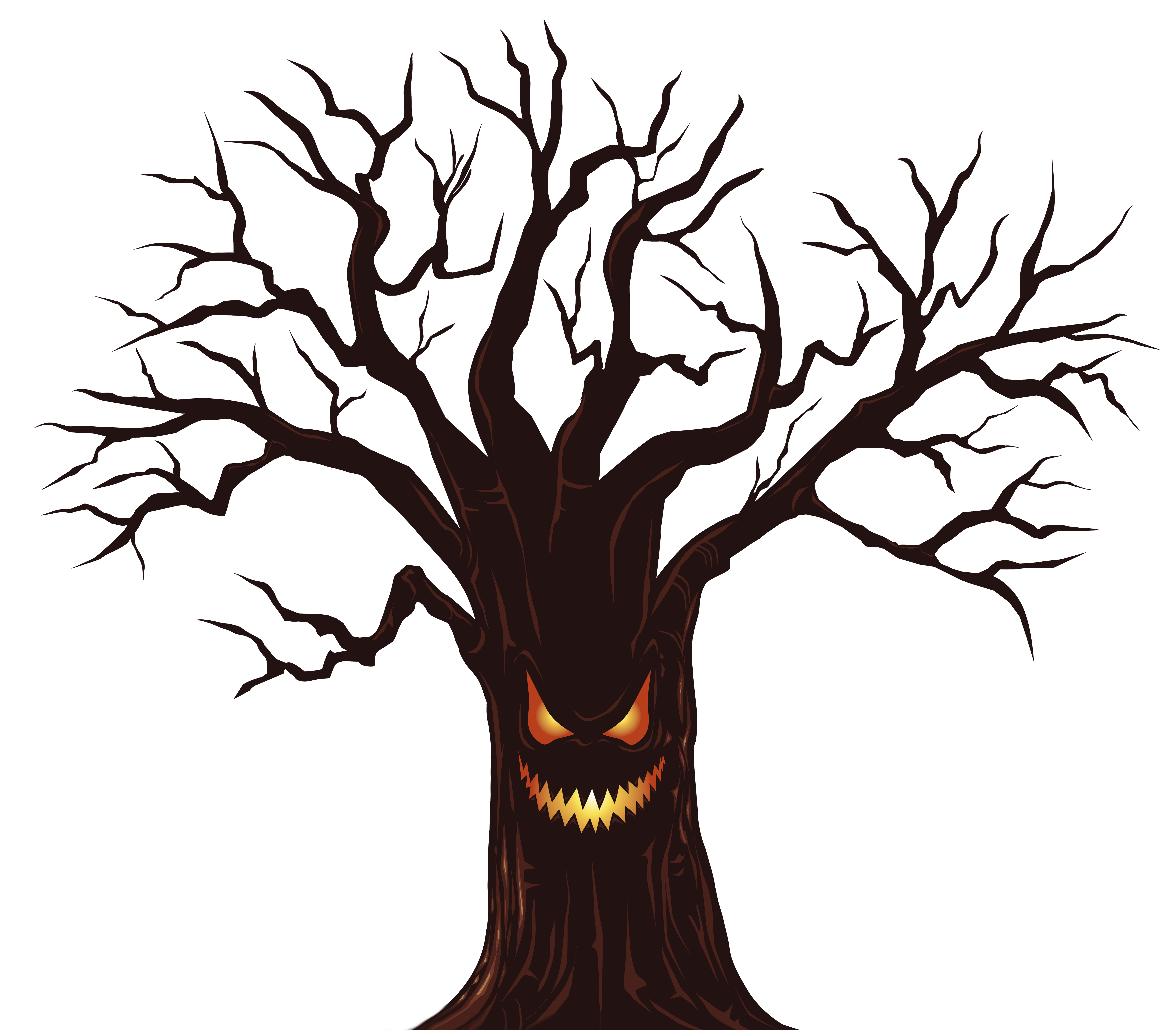 Spooky clipart. Halloween tree png image