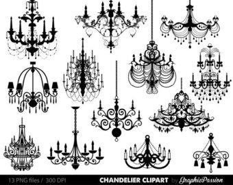 Spooky clipart chandelier. Clip art silhouettes by