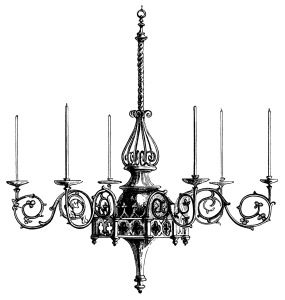 Spooky clipart chandelier. Victorian illustration black and