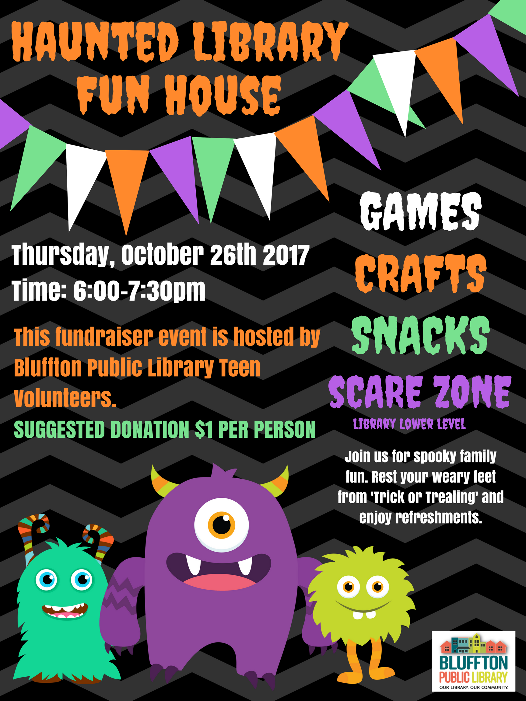 Spooky clipart haunted library. Fun house bluffton public