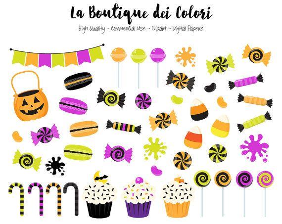 Spooky clipart sticker. Halloween candy cute digital