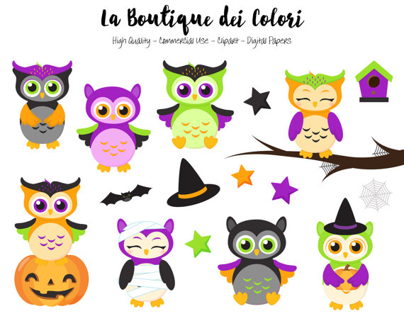 Spooky clipart sticker. Halloween owls cute digital