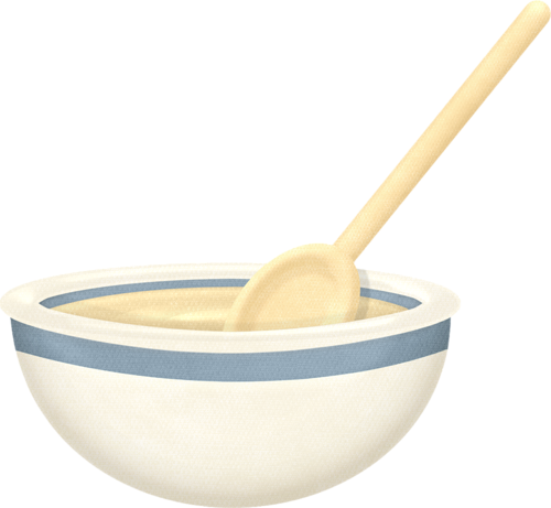 Transparent bowl cooking. Mixing and wooden spoon