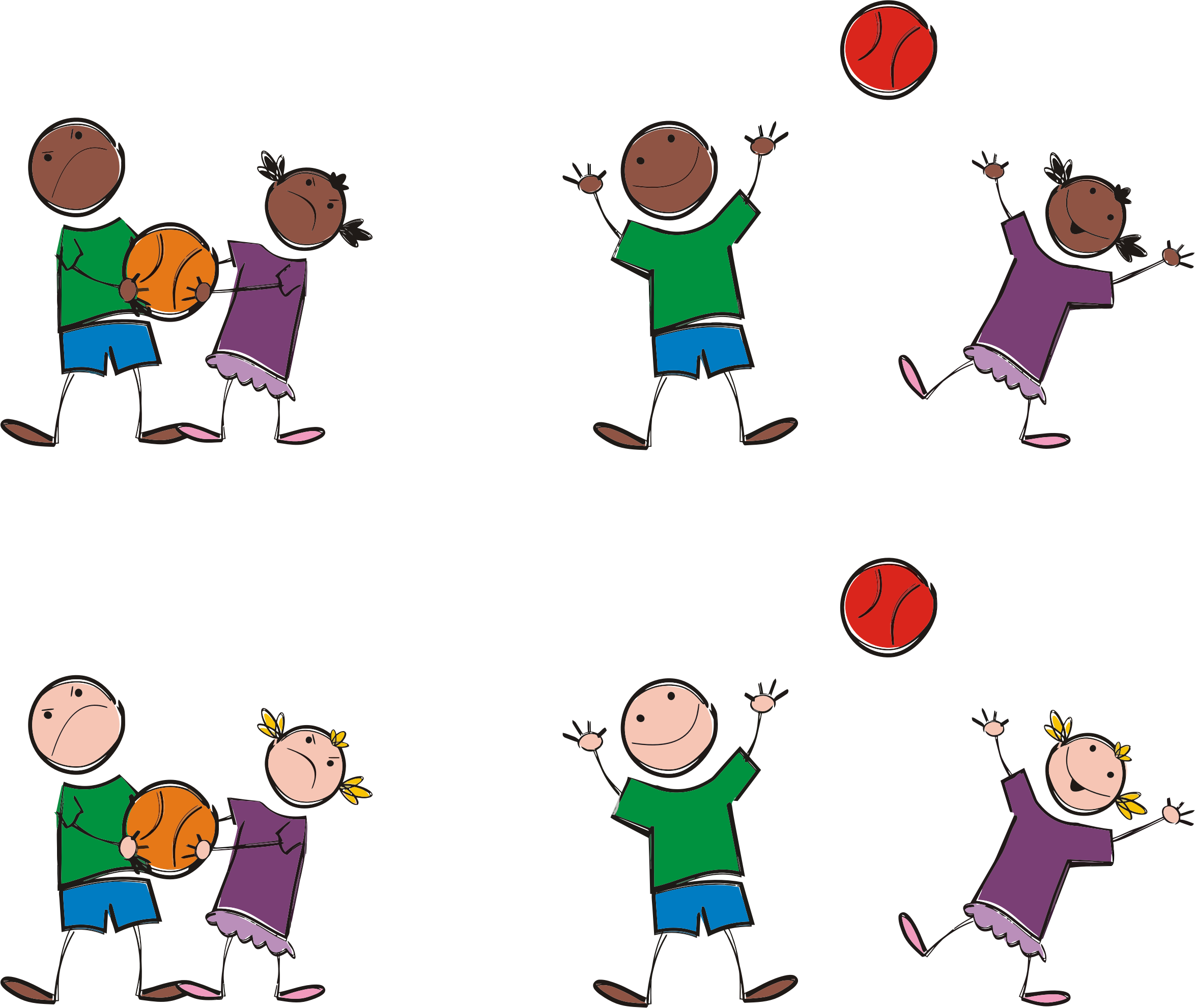 Sports clip art png. Multicultural kids playing icons