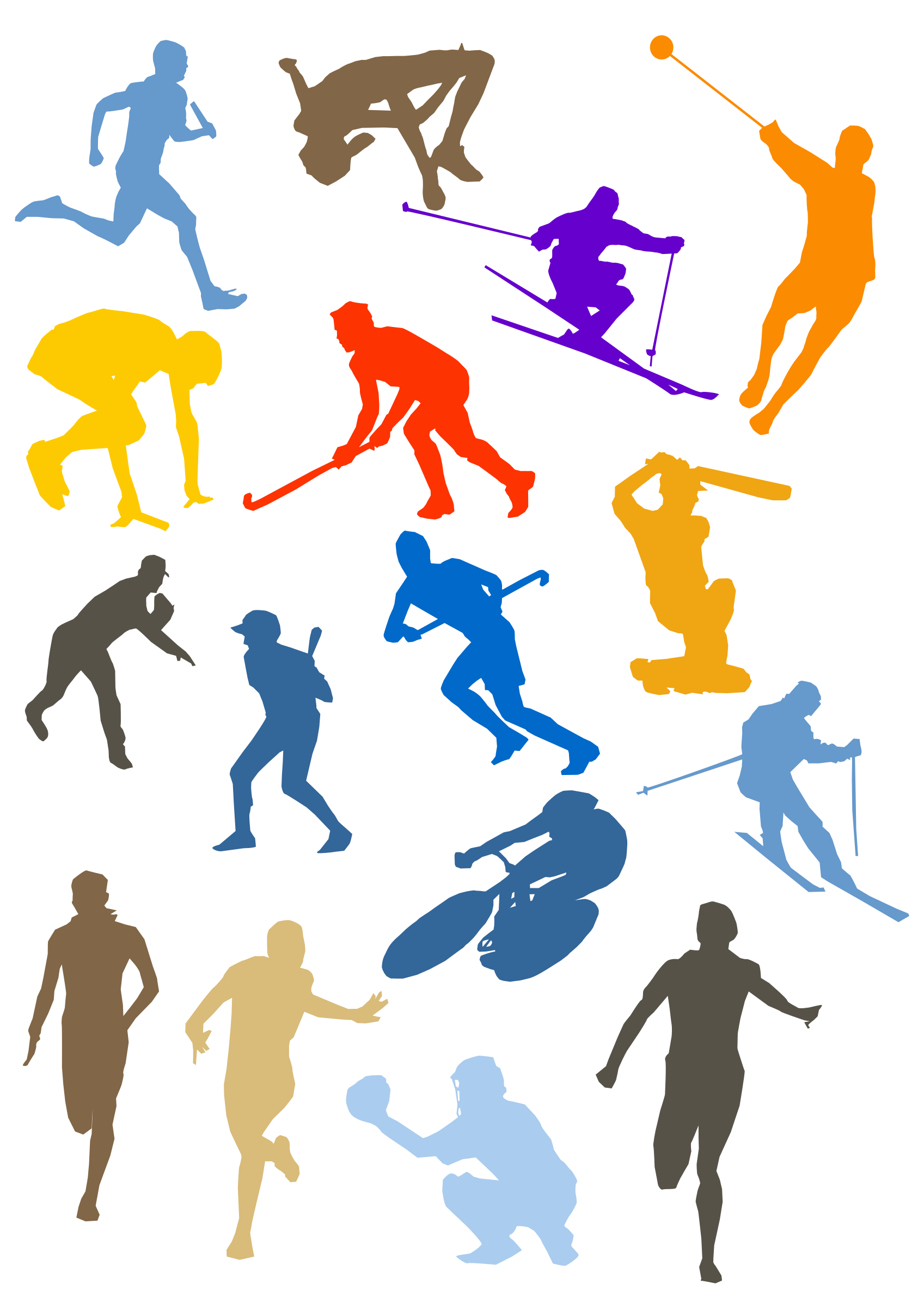 Silhouette sport disciplines set. Png clipart sports vector black and white library
