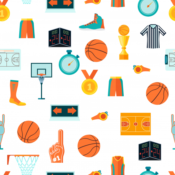 Sports seamless pattern with basketball icons in flat style vector.