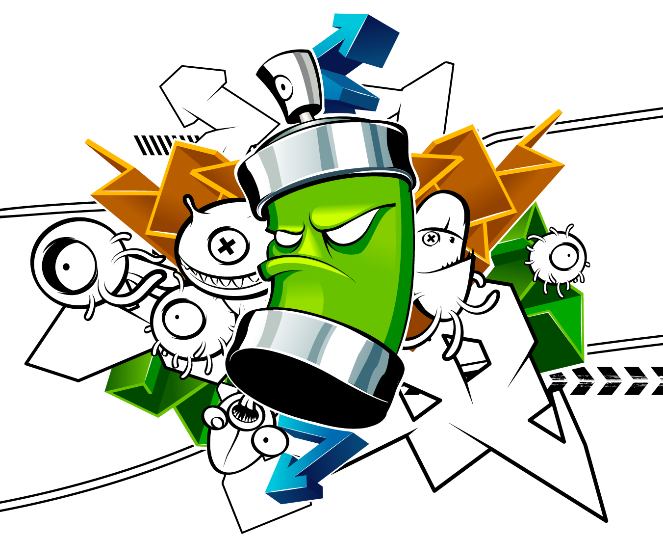 Spray graffiti png. Aerosol drawing cartoon paint