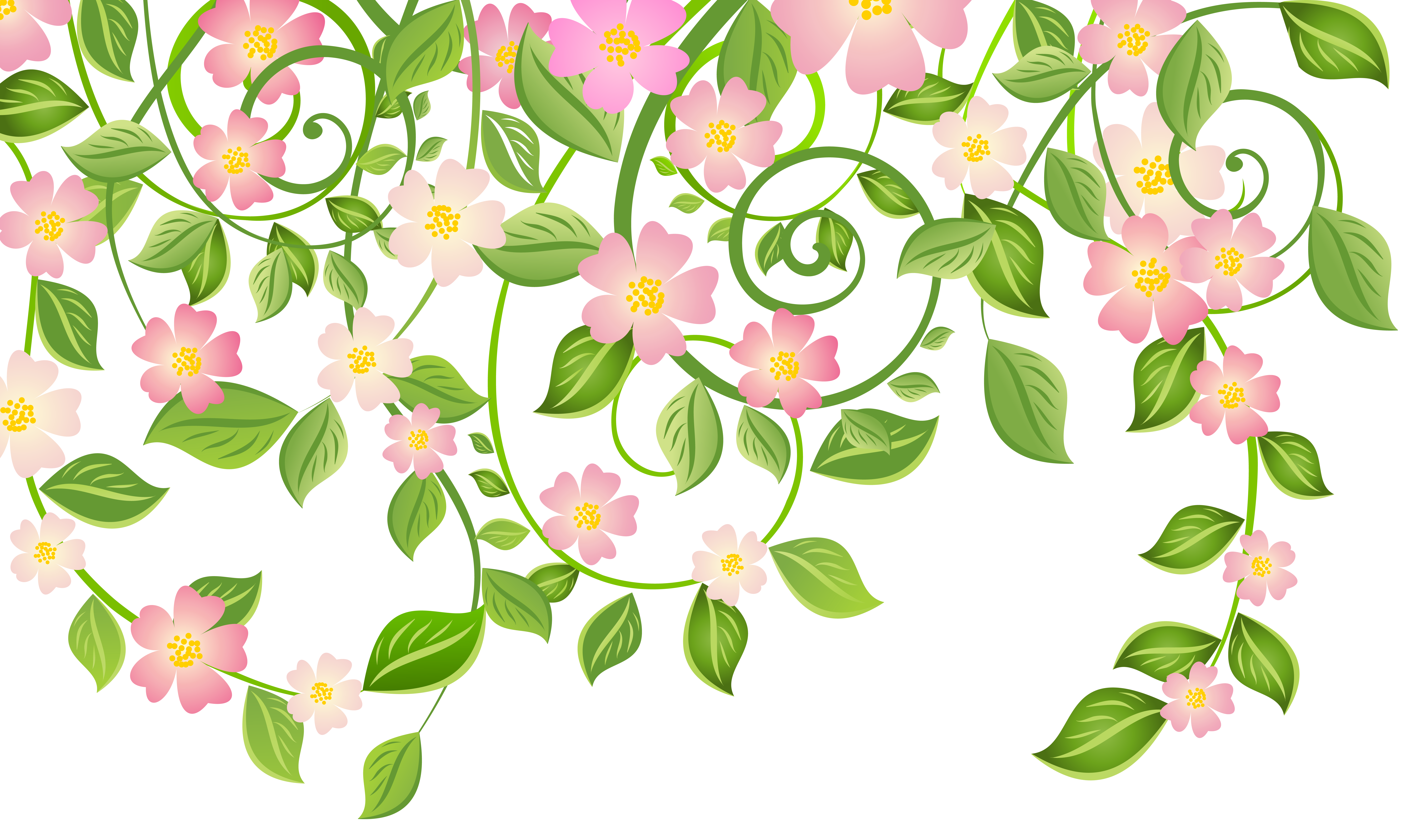 Spring art png. Blossom decoration with leaves