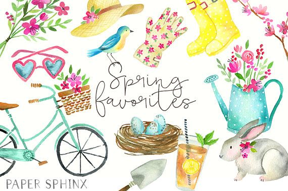 Spring clipart fashion. Watercolor clip art flowers