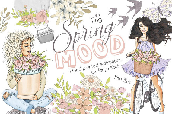 Spring clipart fashion. Hand painted watercolor floral