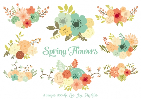 Spring clipart garland. Flowers graphics clip art