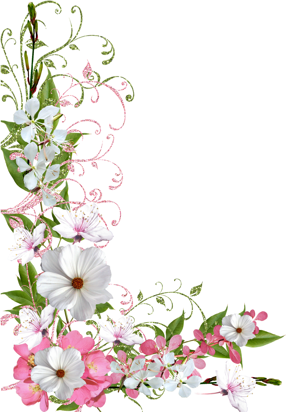 Pastel flower png. Pink and green spring