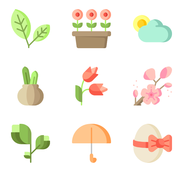 Vector nature spring. Icons free time