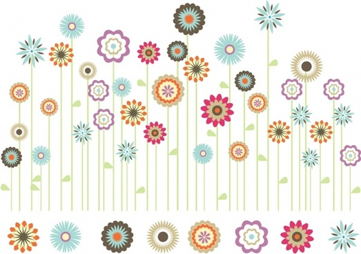 Springtime clipart bright colored flower. Spring flowers vector free
