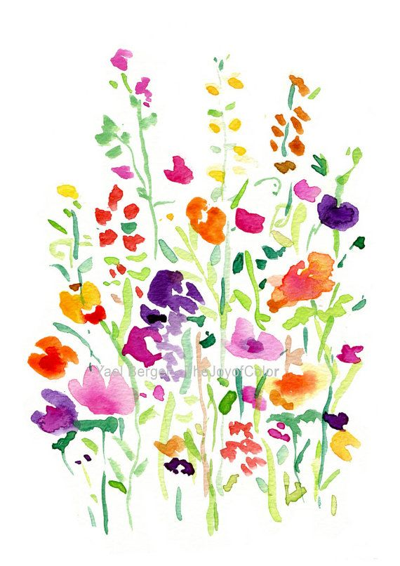 Springtime clipart bright colored flower. Field print abstract floral
