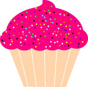 Sprinkles clipart. Cupcake with pink frosting
