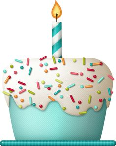 Sprinkles clipart cake. Vector blue cupcake with