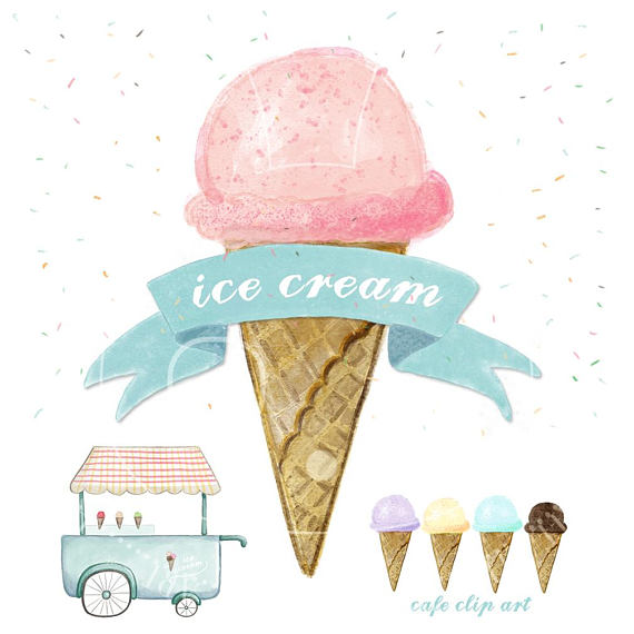 Sprinkles clipart watercolor. Ice cream hand drawn