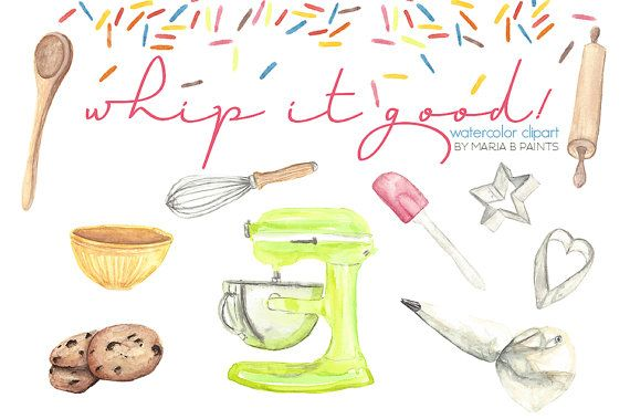 Sprinkles clipart watercolor. Clip art baking supplies