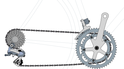 Sprocket drawing bike. Bicycle chain dimensions model