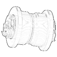 Sprocket drawing excavator. Bucket and undercarriage manufacturer