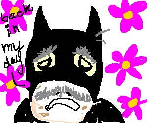 Sprocket drawing flower. Old batman accosted by