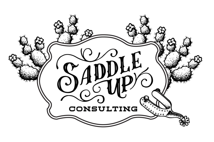 Spurs drawing design. Saddle up consulting logo