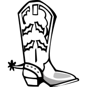 Spurs drawing sleeve. Cowboy boot with by