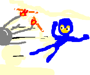 Sputnik drawing cartoon. Mega man dodges with