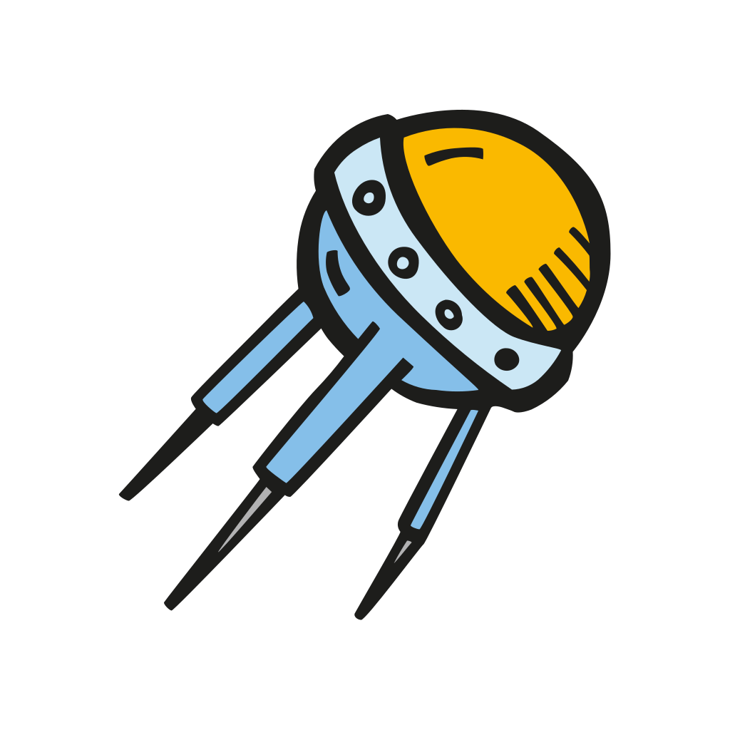 Sputnik drawing comet. Icon free space iconset