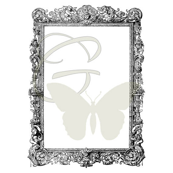 Square clipart drawing. Antique frame art image