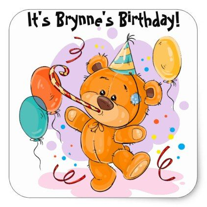 Square clipart teddy bear. Birthday party sticker